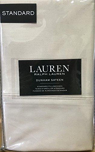 Set of 2 Ralph Lauren Dunham Sateen Standard Pillowcases Latte -300 Thread Count 100% Cotton- (Cases Pillow Ralph Lauren)