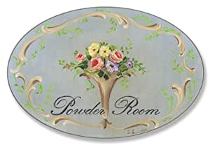 Stupell Home Blue Floral Powder Room Oval Bath Plaque