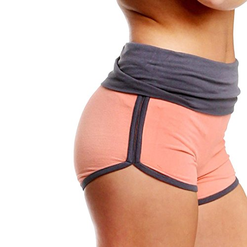 Jushye Clearance!!! Women's Yoga Sport Shorts, Ladies Summer Running Pants Cropped Leggings Short Pant Stretch Trousers (Orange, L)