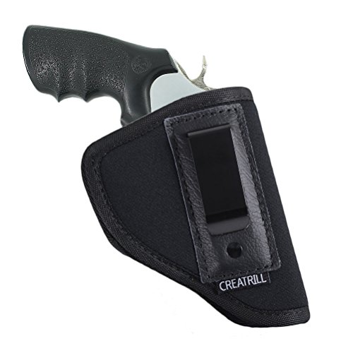 Creatrill Inside The Waistband Holster | Fits Most J Frame Revolvers/Ruger LCR/Smith & Wesson Body Guard/Taurus/Charter/most .38 special type guns | Gun Concealed Carry IWB or OWB Holster (Best Concealed Carry 357 Magnum Revolver)