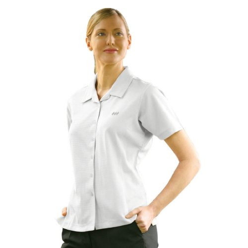 Monterey Club Ladies Dry Swing Textured Camp Shirt #2552 (White, Medium)