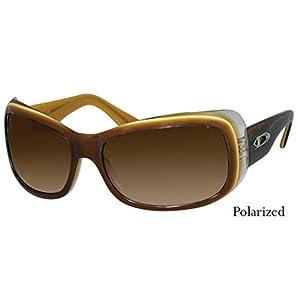 DIVINE Eyewear Women Sunglasses (ENVY, brown orange clear / polarized amber lens, one color)
