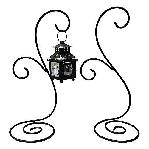 Black Iron Hanging Planter Stand Air Plant Holder Flower Pot Stand Holder Lantern Display Decor Set of 2 (Lantern Stand)