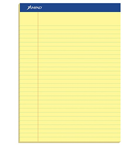 Ampad Perforated Pad, Size 8-1/2 x 11-3/4, Canary Yellow Paper, Legal Ruling, 50 Sheets Per Pad (20-260)