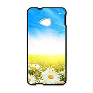 Personalized Creative Cell Phone Case For HTC M7,clouds blue sky and white flowers field