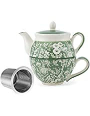 Taimei Teatime Tea Pot Set, Hand Painted Tea for One Set, Ceramic Tea Pot(15 fl oz) and Cup Set with Infuser for Loose Leaf Tea
