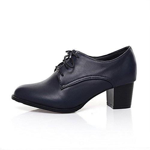 shoes Chunky Lace Oxfords Blue strap Balamasa Ladies Urethane Heels up Adjustable qXx5ROz