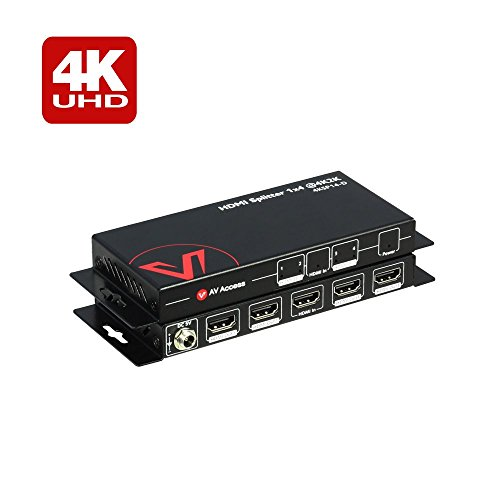 Output Protection - AV Access HDMI Splitter 1x4,1 in 4 out 4K 1080p 3D, PCM7.1, Dolby TrueHD, DTS-HD Master Audio, Auto EDID, Threaded Power Supply,With Built-in Surge Lightning Protection(one input four output)