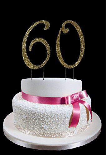 Amazon Large Gold 60th Birthday Wedding Anniversary Number Cake