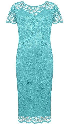 21fashion Dames À Manches Courtes Floral Imprimé Dentelle Robe Moulante Femmes Midi Col Rond Robe Fantaisie Turquoise Fête