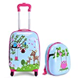 "Review of Goplus 2Pc 12"" 16"" Kids Upright Hard Side Carry On Luggage Set"