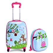 HONEY JOY Carry On Luggage for Kids, 12″ Toddler Backpack & 16″ Travel Suitcase with Spinner Wheels, Durable ABS Hardshell, Lightweight Rolling Trolley Luggage Set for Baby Girls Boys