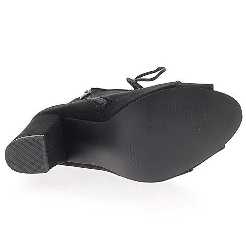 Botas de negro abierto con espesor 9cm con cordones apariencia gamuza tacón