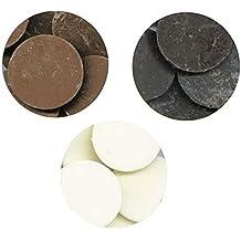 Merckens Chocolate Variety Pack D - 1 pound each Cocoa Lite, Dark, & White