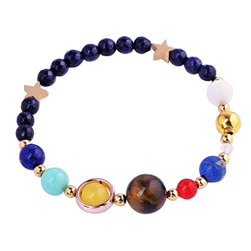 Handmade Solar System Bracelet Universe Galaxy The Nine Planets Guardian Star Natural Stone Beads Bracelets Bangles for Gift
