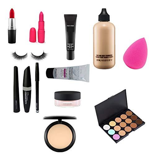 Khushi Macc Combo Set Of 2 Lipstick, Bb Cream, Foundation, Blender, Primer, Compact, Conceller Palatte, Eyelashes.