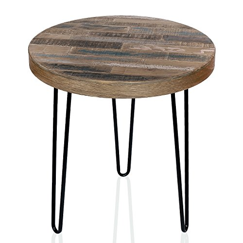 WELLAND Pine Wood Round End Table With 3 Hairpin Legs, Faux Reclaimed Wood Side Table