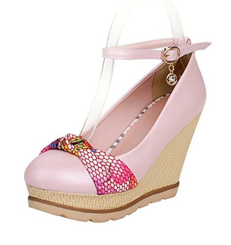 La Boucle De Voguezone009 Femmes Rondes Pu Chaton-talons Bout Fermé Couleurs Assorties Pompes Chaussures Rose