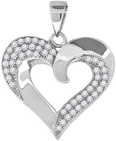 925 Sterling Silver Womens Round Cubic Zirconia Heart Fashion Pendant