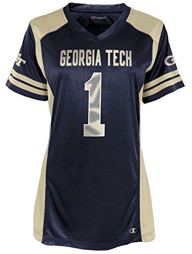 NCAA Georgia Tech Yellow Jackets Kick Off Short Sleeve V-Neck Jersey, X-Small, Sports Navy