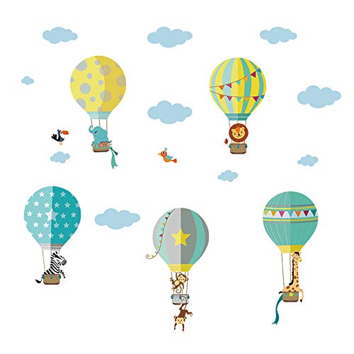 decalmile Animals in Hot Air Balloons Wall Decals Kids Wall Stickers Childrens Bedroom Nursery Baby Room Decor by decalmile