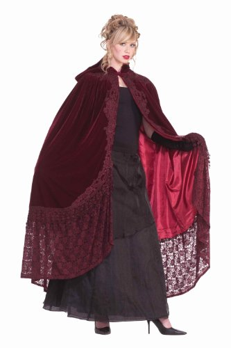 Renaissance Costumes Amazon (Forum Novelties Victorian Cape with Lace, Burgundy, One Size)