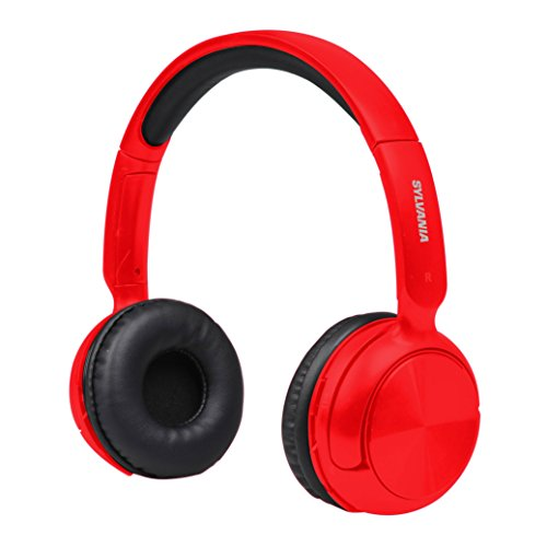 Sylvania SBT235-Red Bluetooth Wireless Headphones with Microphone, Red (Renewed)