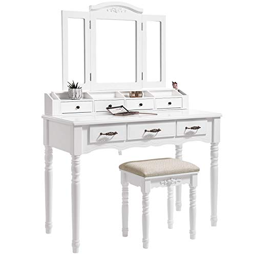 SONGMICS Vanity Set, Tri-Folding Necklace Hooked Mirror, 7 Drawers, 6 Organizers Makeup Dressing Table with Cushioned Stool Easy Assembly, for Women White URDT06M - bedroomdesign.us