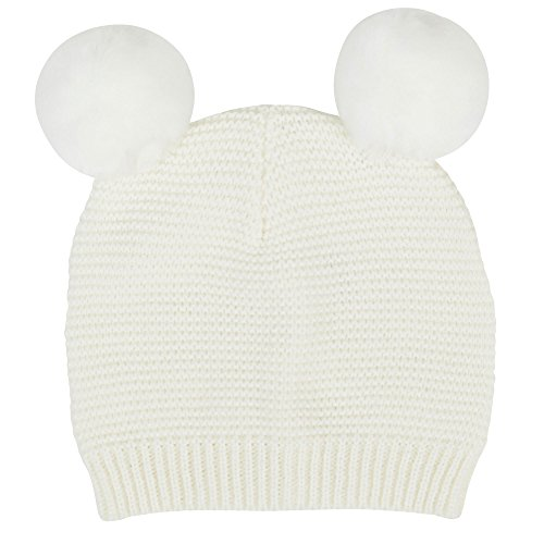 Waddle Baby Girls Pom Pom Beanie Knit Hat for Fashion or Winter 6-12 Months Ecru Off-White Knit