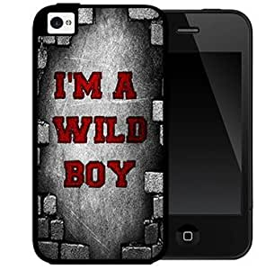 I'm A Wild Boy Quote With Red And Grey Background Hard Snap On Case Cover (iPhone 4 4s)