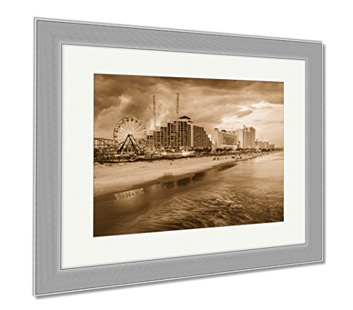 Ashley Framed Prints Daytona Beach Skyline, Contemporary Decoration, Sepia, 26x30 (frame size), Silver Frame, - Places Daytona Beach To Shop In