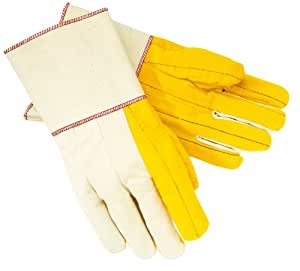 MCR Safety 8516G Golden Chore Quilted Palm Regular Weight Men's Gloves with Plasticized Gauntlet Cuff, White, Large, 1-Pair