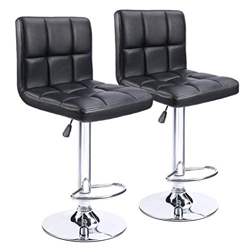 Adjustable Bar Stools for Kitchen Counter,PU Leather Adjustable Swivel Chairs with Chrome Base Square Dinning Chairs, Set of 2, Black