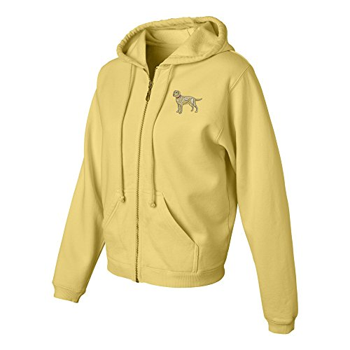 (Labrador Yellow Ladies Pigment Dyed Full Zip Hooded Sweatshirt Color Butter, Size)