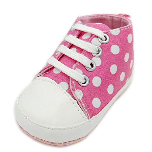 New Canvas Baby Girls Boys Shoes Print Dot Pattern Baby Shoes Spring Autumn Anti-Slip Toddler Crib First Walkers Prewalker (7-12months, Pink)