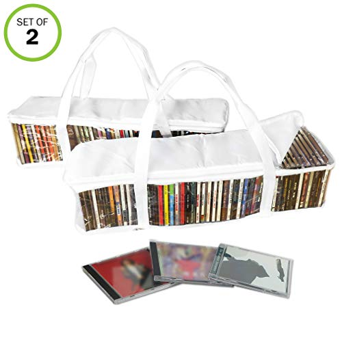 - Evelots CD Storage Bag-Zippered-Clear-Handles-Hold 94 CD's Total-White Top-Set/2