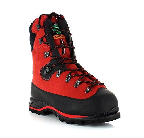 Treemme 91289 / 1r Stivali Forestali Tagliati Classe Di Protezione 2 Impermeabile E Rampone Rosso