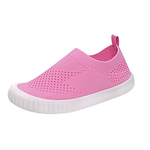 Image of Zeetoo Boys Girls Mesh Sneakers Running Shoes Breathable Loafer Slip on Walking Shoes 169 Pink