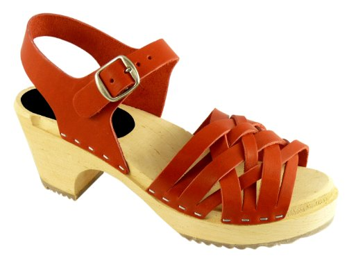Lotta From Stockholm Torpatoffeln Swedish Clogs : Braided High Heel Clogs in Wax Red Leather 7.5 B(M) US / 38 M EU