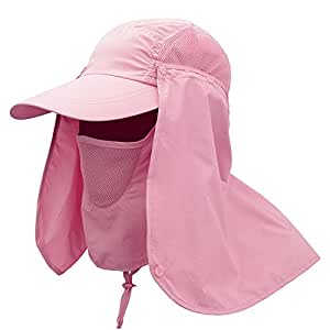 Ezyoutdoor Unisex Pink Outdoor Sport 360 Degree Summer Sun Quick-drying Sunscreen UV50+ protection fishing Riding Climbing Caps Bucket Hat Jungle Hat for ALL Outdoor Activities
