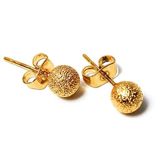 TOOGOO(R) Boucles d'oreilles Boule Douces Or Elegant Bijoux Clou Ball Earrings Femme Mode