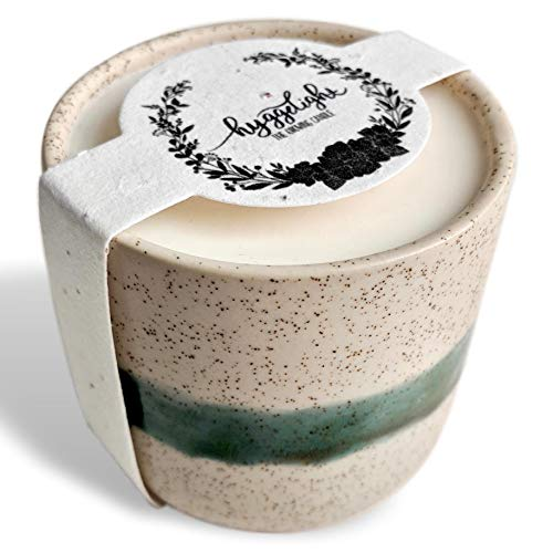 The Growing Candle - Wildflower Seed Embedded Label, Reuse Ceramic Pot, Grow Flowers, Less Waste, 100% Soy Candle, 8.5oz - Created by Hyggelight - EDITH - SANDALWOOD VANILLA by Hyggelight - The Growing Candle