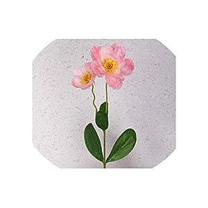 2 Heads Poppy Artificial Flower for Wedding Decoration Silk Flower Rosemary for Home Office Decor Fake Flower,Pink 83