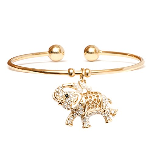 Barzel 18K Gold Plated Crystal Charm Bangle (Elephant)