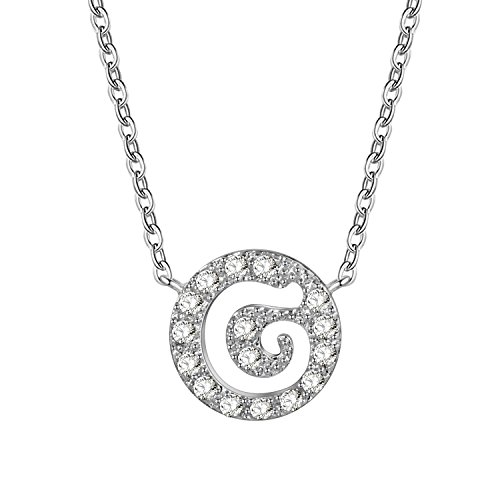 D&g Jewelry (D.B.MOOD Jewelry for Women Pendant Necklaces Silver Rolo Chain Crystal Gemstone Necklace 26 Letters 17.3 Inches G)