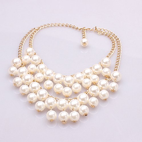 Multi Row Pearl Necklace: GDSTAR Elegant Multi-Row Torsade Fringe White Pearl Bead