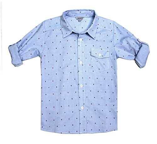 Bienzoe Boys Printed Shirt Cotton Roll Up Sleeve Button Down Blue Sports Shirts 7/8