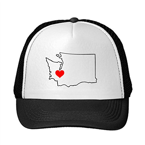 Washington Heart Love Adjustable Trucker Hat Cap Black