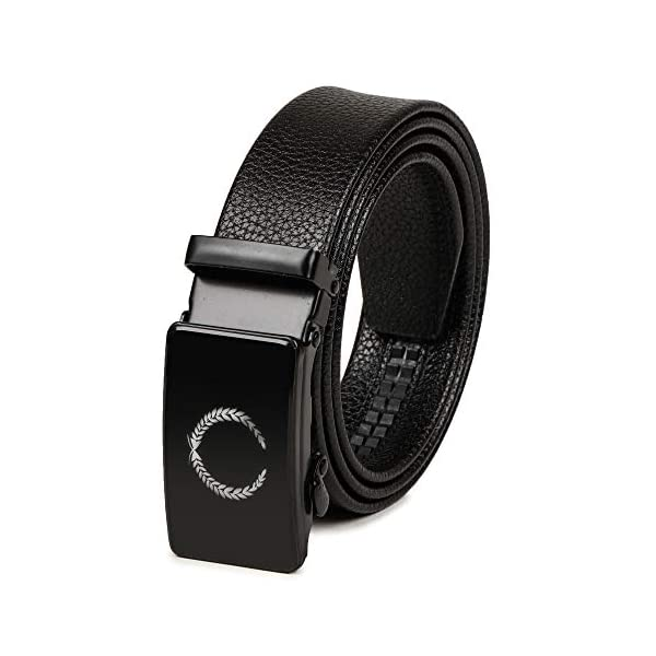 VOGARD Men's PU Leather Belt with Automatic Lock Buckle (Strap gripped), Black Free Size