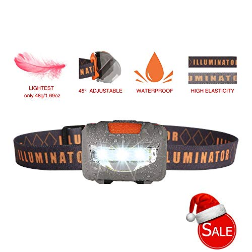 Lightest Headlamp Flashlight,Bright COB-LED Light,3-Mode Waterproof Sport Headlight,Jogging Head Lamp for Kids,Night Running,Camping,Hiking,Biking,Fishing,Reading,Children,1.6oz/48g(NO AAA Battery)